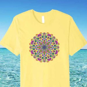 Artistic Colorful Mandala Geometry Graphic Pattern T-Shirt